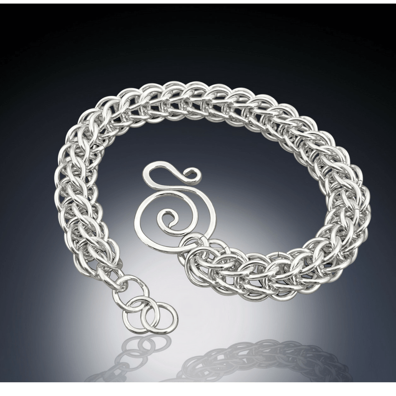handmade sterling silver round chain mail bracelet