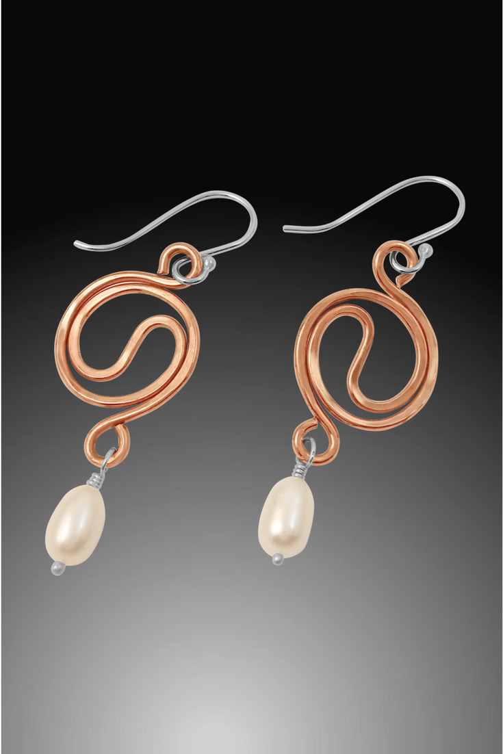 copper and pearl drop earrings
