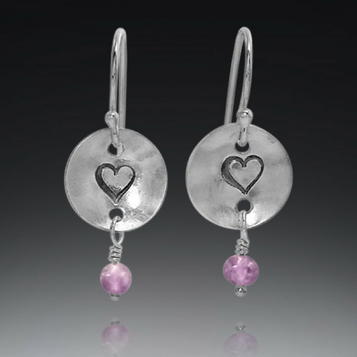 handmade sterling silver and amethyst heart earrings, gift for her, gift for Valentine's day