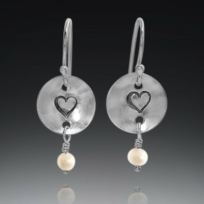 handmade sterling silver heart and freshwater pearl earrings, valentine's day gift, gift for her, jewelry for valentine's day