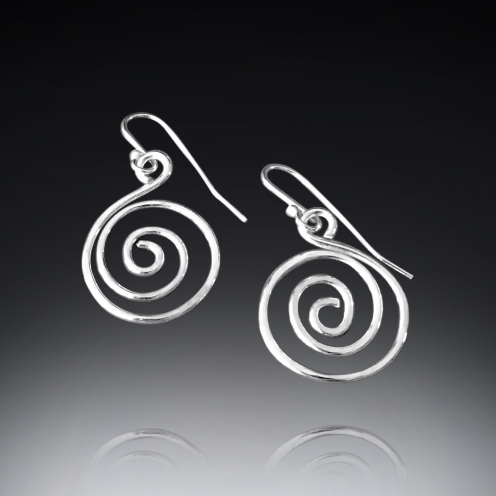Sterling silver swirl spiral earrings