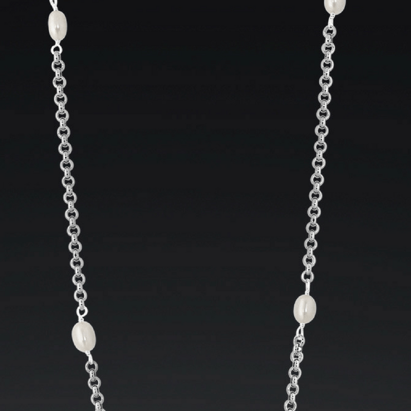 Stainless steel and pearl layering necklace