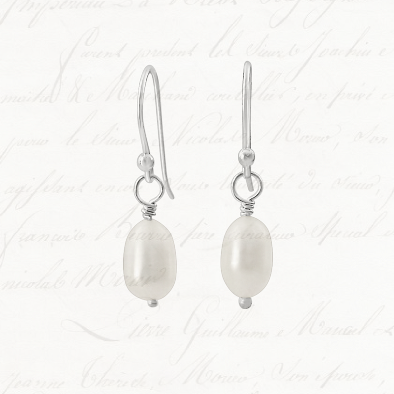 short dangle earrings, pearl earrings