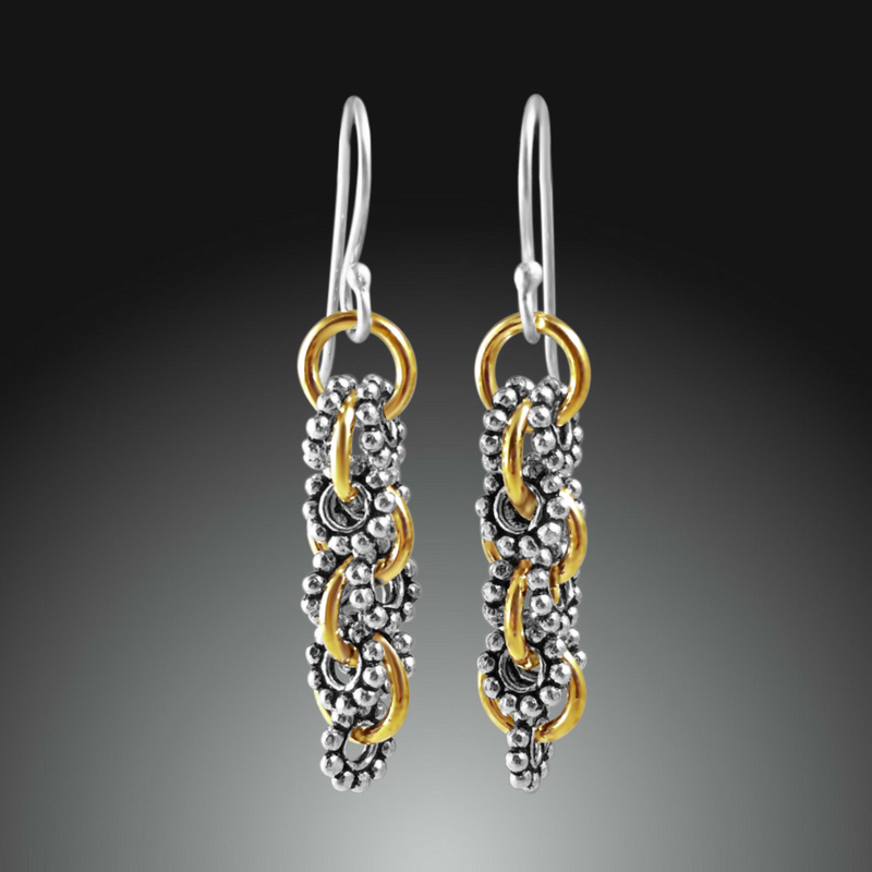 Sterling silver and gold dangle earrings