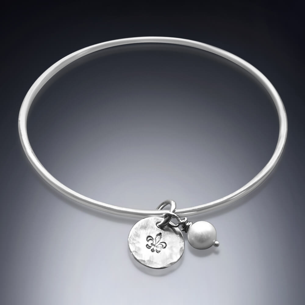 silver pearl bangle bracelet
