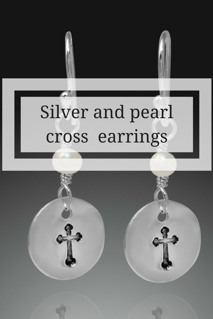 Pearl earrings, cross earrings, cross jewelry