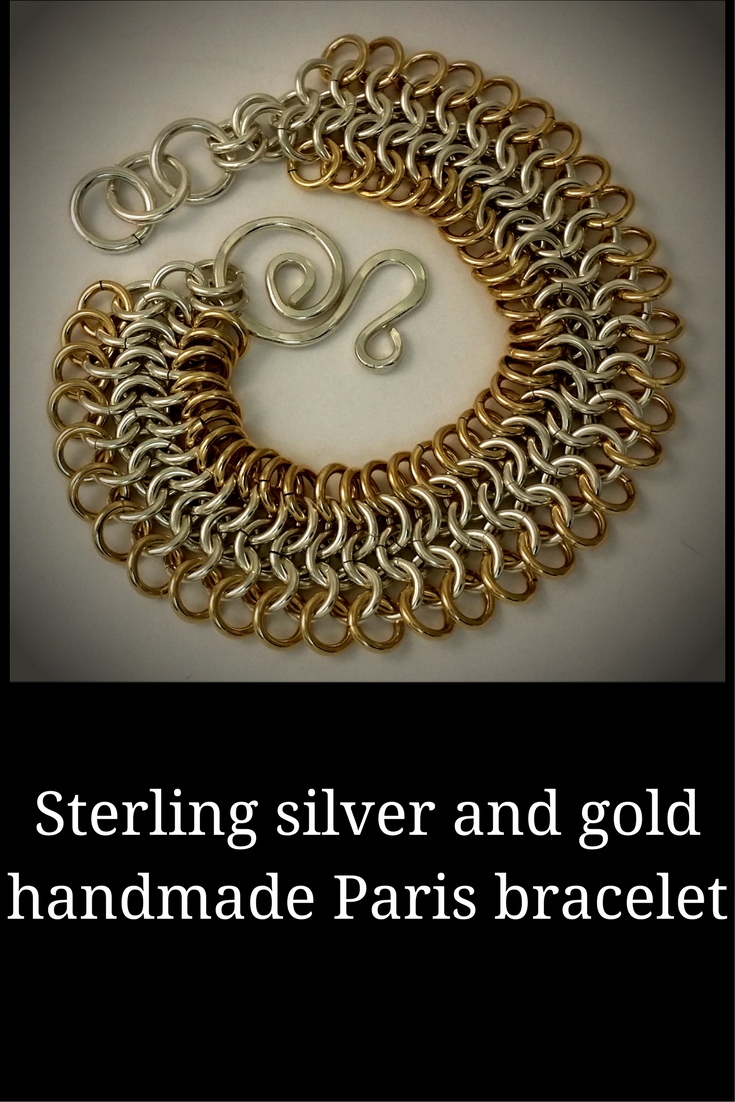 Handmade silver and gold chain mail bracelet - Paris