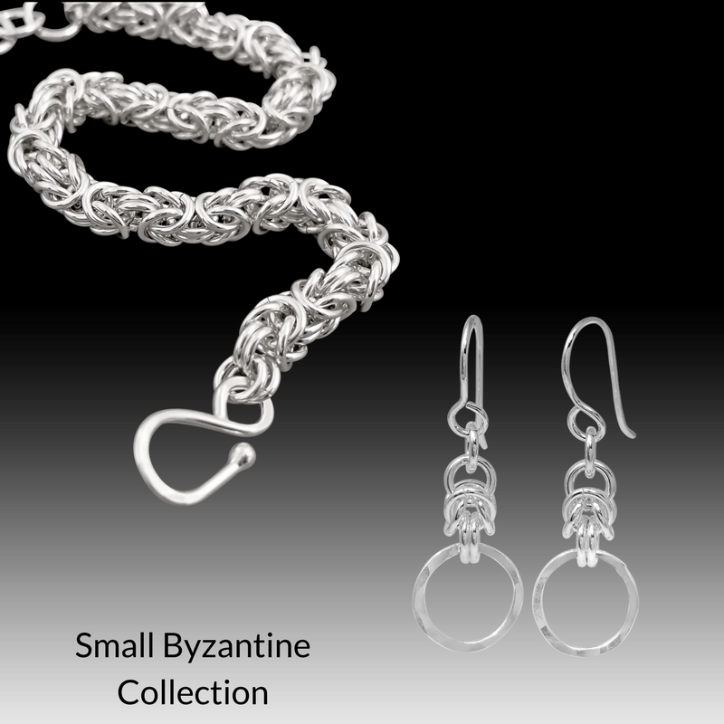 Small byzantine earrings and bracelet set